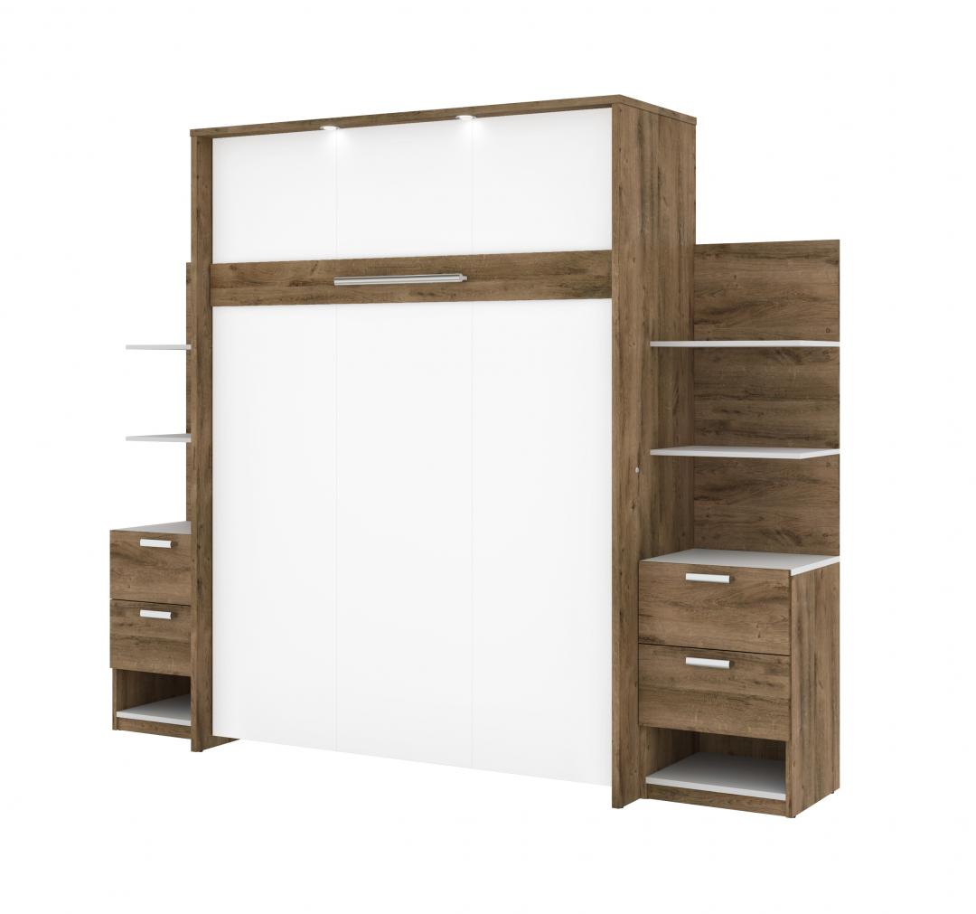 "Queen Murphy Bed, 2 Base Storage Units with Drawers, and 4 Floating Shelves (104"")"