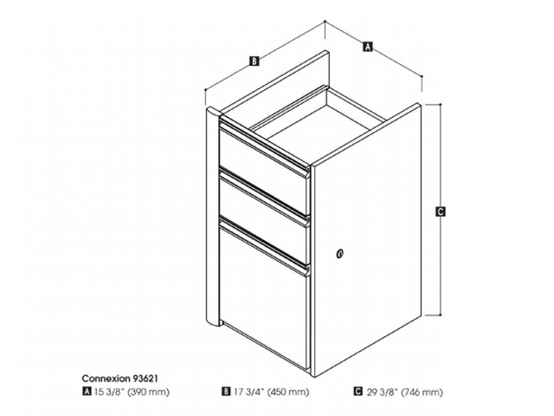 Bestar Add-on Pedestal with 3 Drawers Connexion