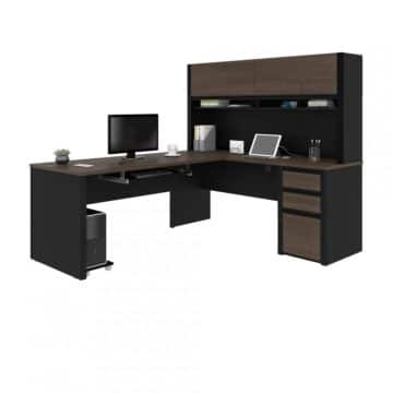 L-Shaped Desk with Pedestal and Hutch