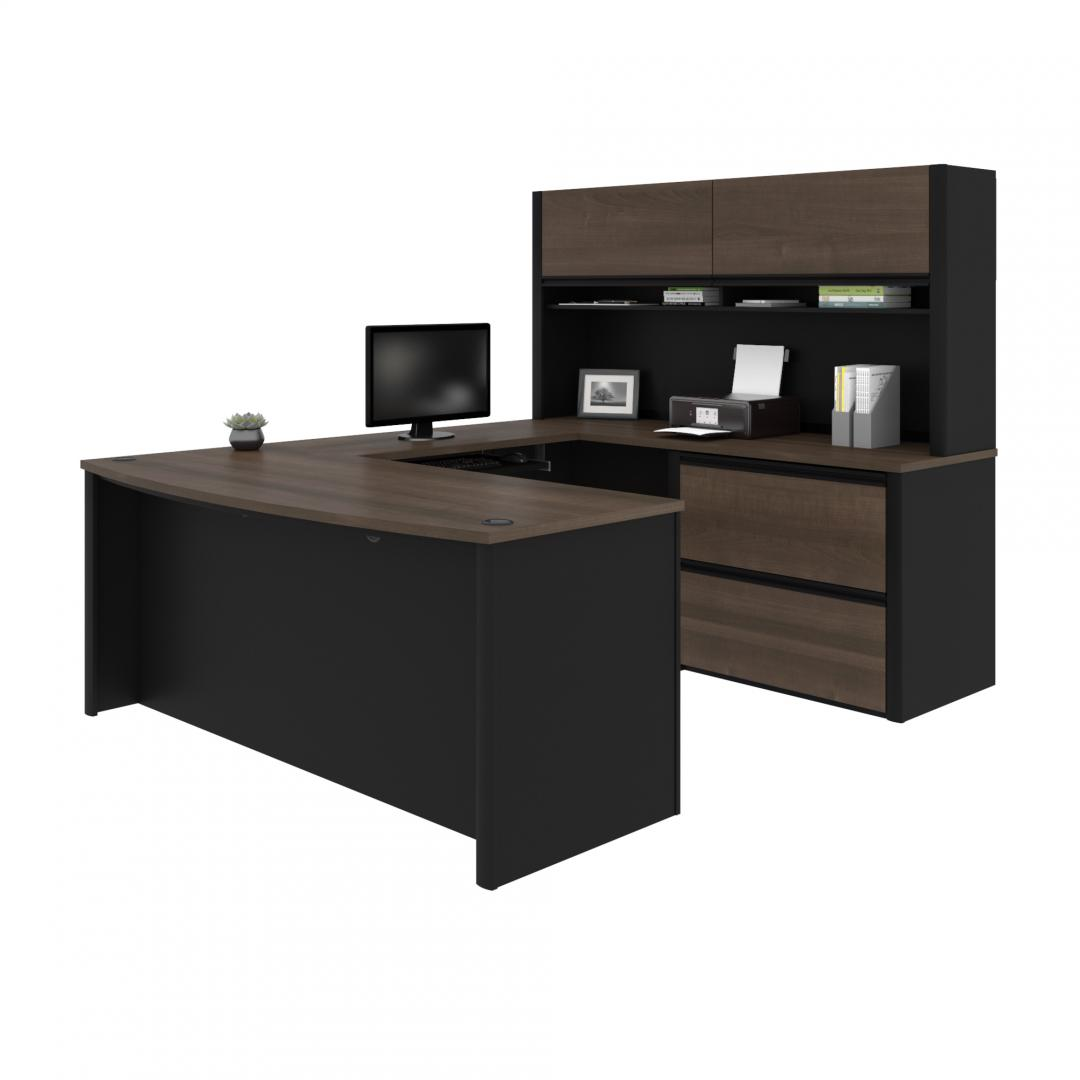 U-Shaped Executive Desk with Lateral File Cabinet and Hutch
