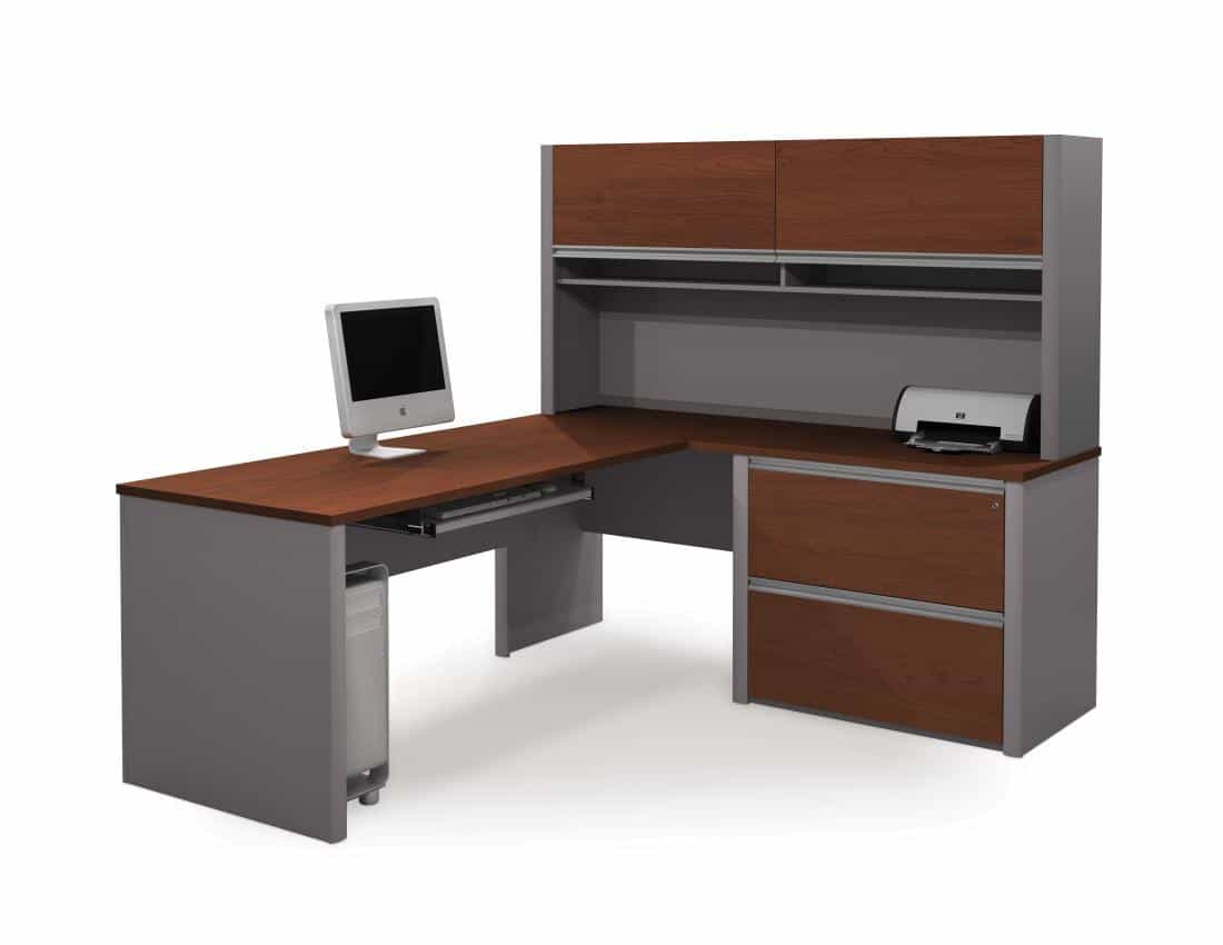 L-Shaped Desk with Hutch and Assembled Lateral File Cabinet