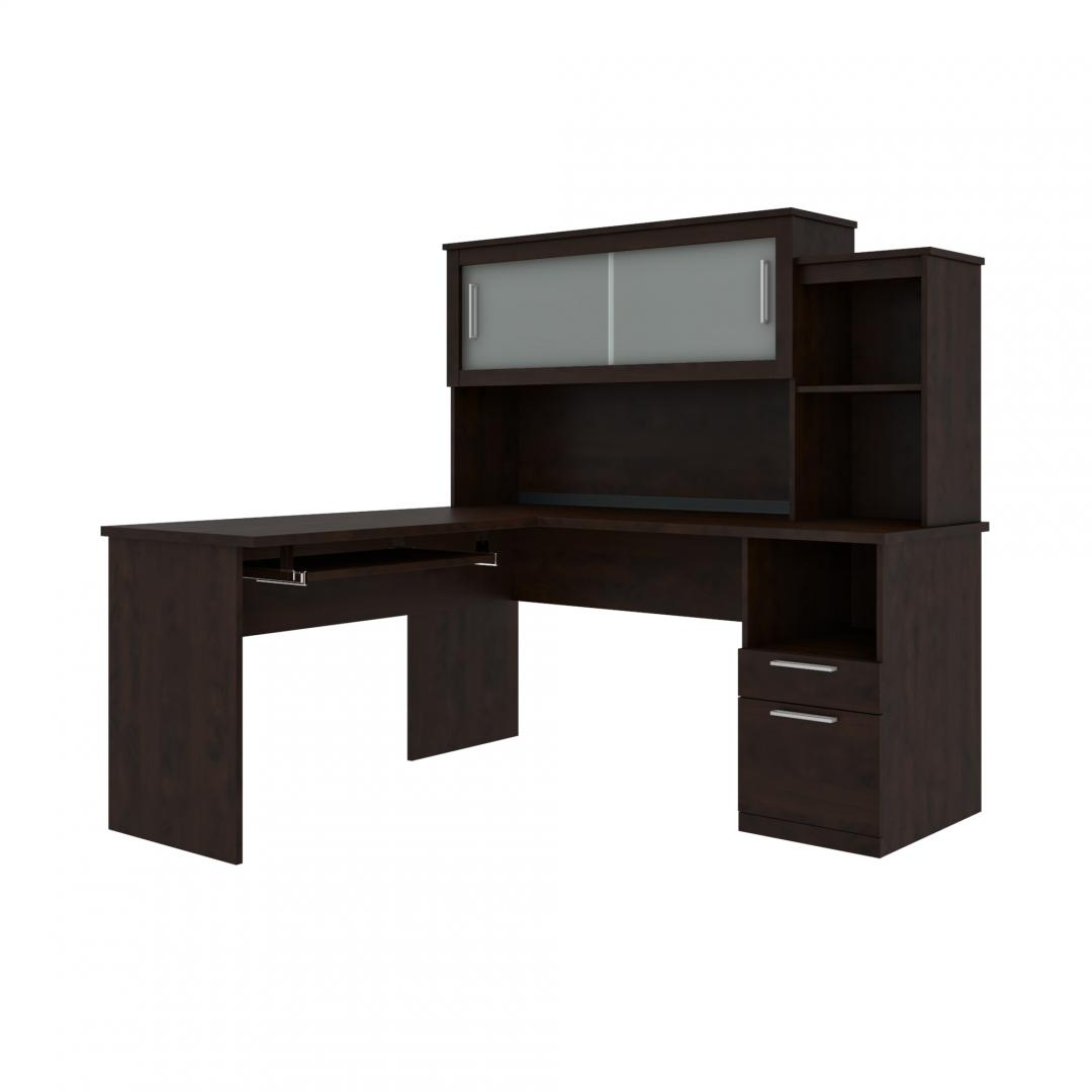 Computer Desk with Pedestal and Hutch