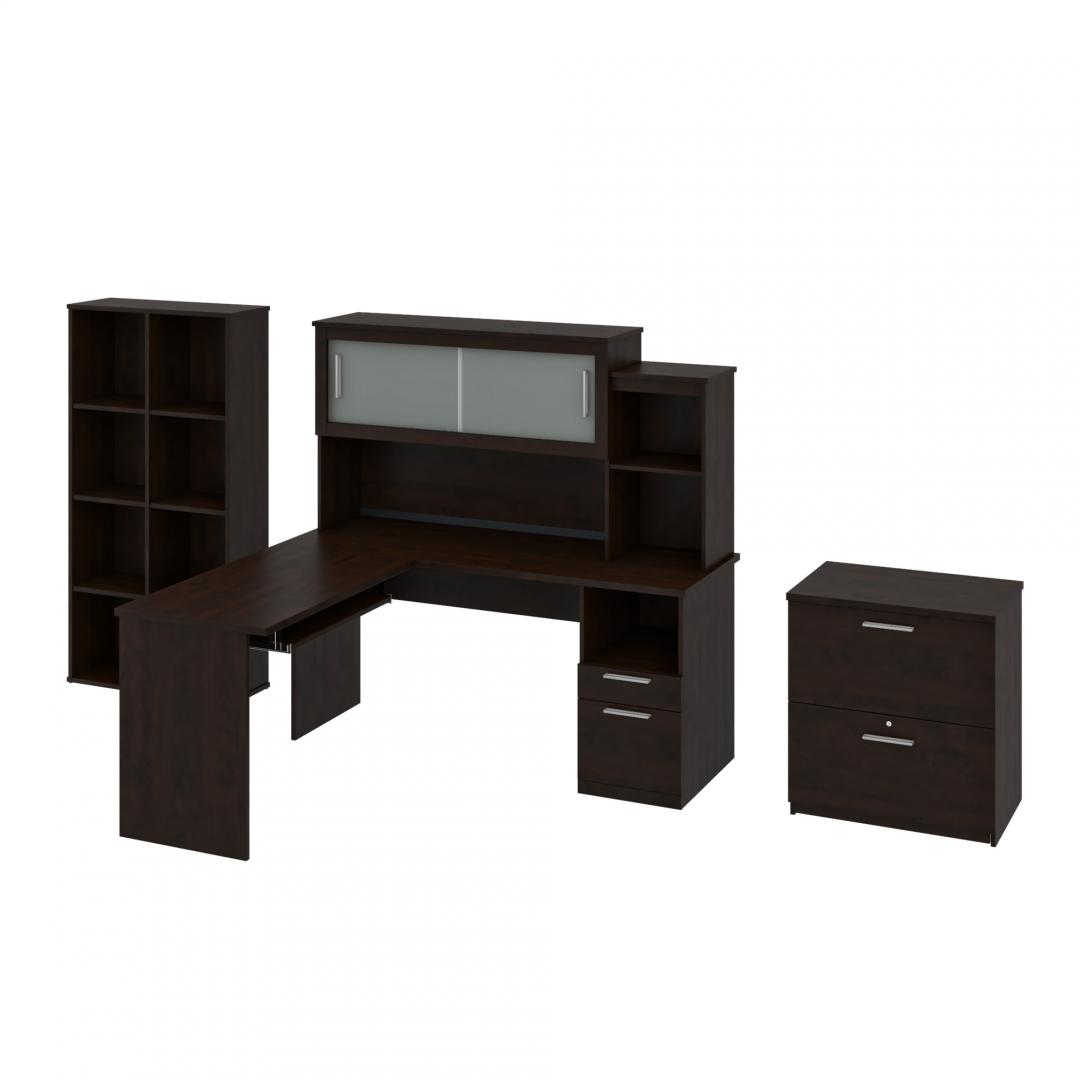 3-Piece set including an L-Shaped desk with hutch, a Lateral File Cabinet, and a Cubby Bookcase