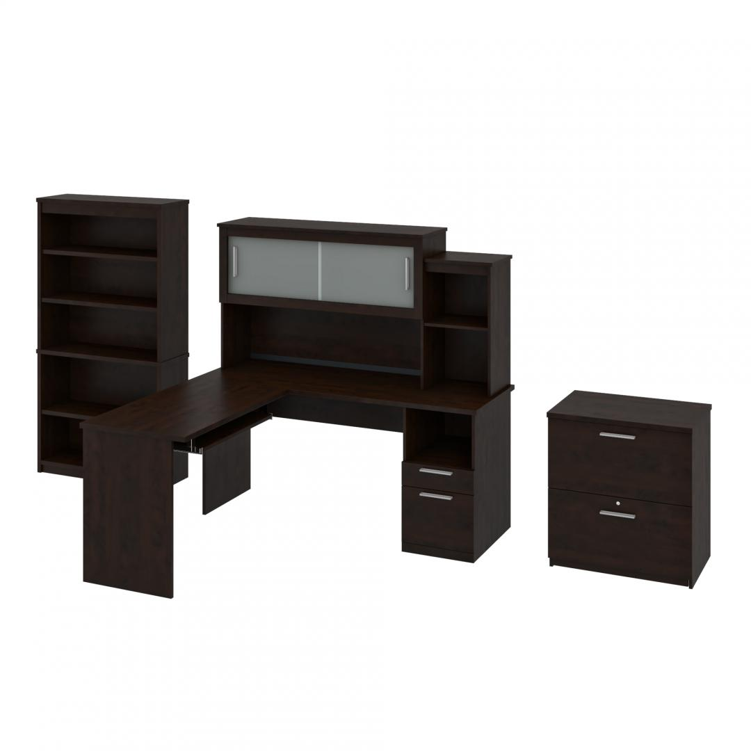 3-Piece set including an L-Shaped desk with hutch, a Lateral File Cabinet, and a Bookcase