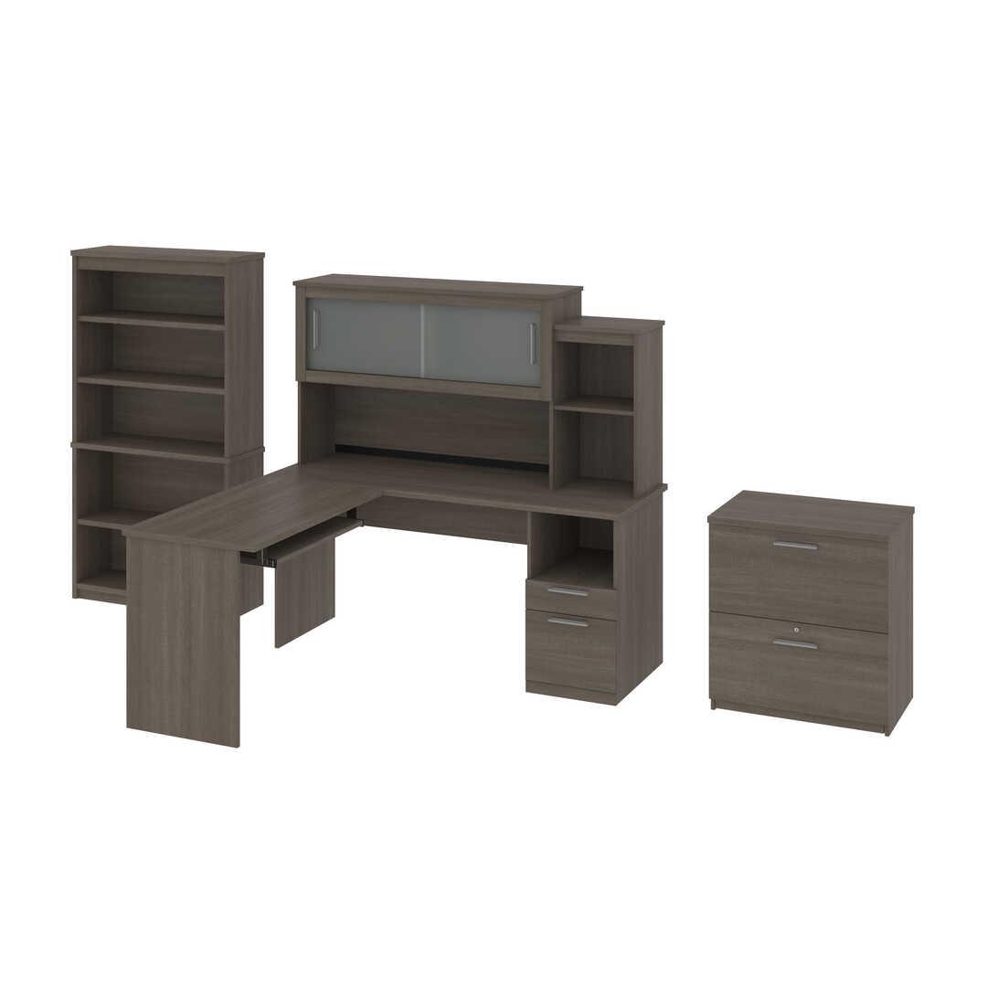 Bureau en L 65L avec huche, classeur latéral et bibliothèque