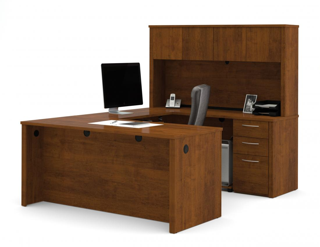 U-Shaped Executive Desk with Pedestal and Hutch