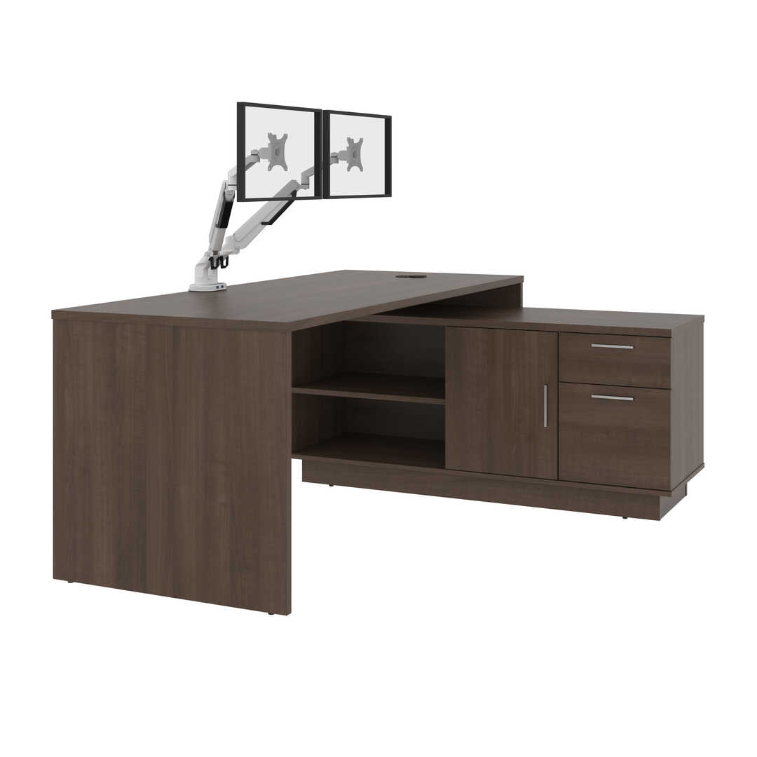 72W L-Shaped Desk with Monitor Arms