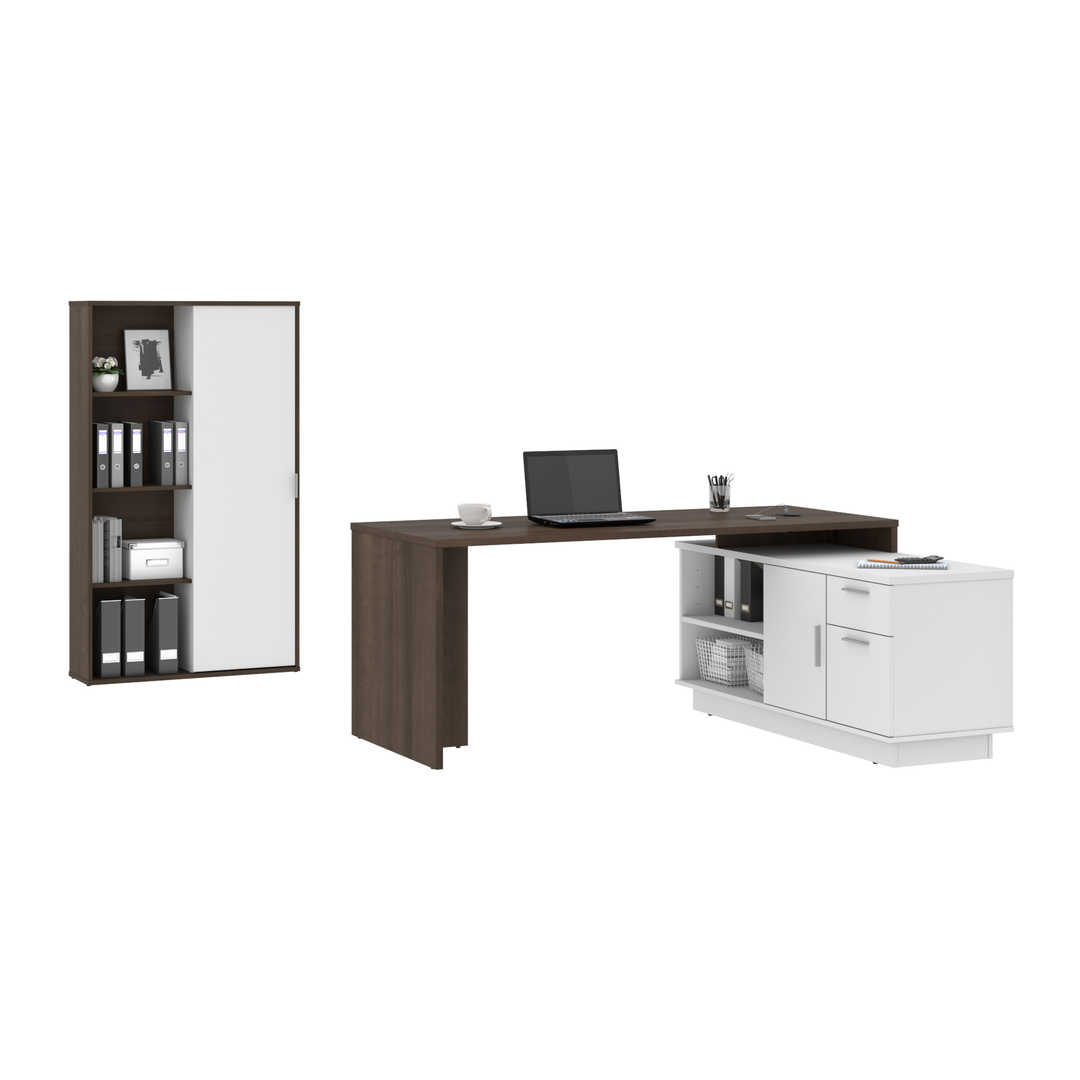 2-Piece Set Including 1 L-Shaped Desk and 1 Storage Unit with 8 Cubbies