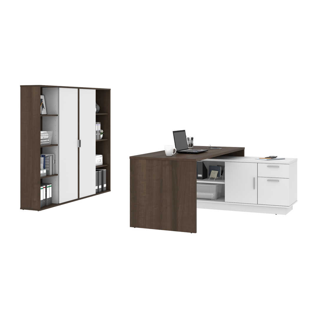 72W L-Shaped Desk with Storage Cabinets
