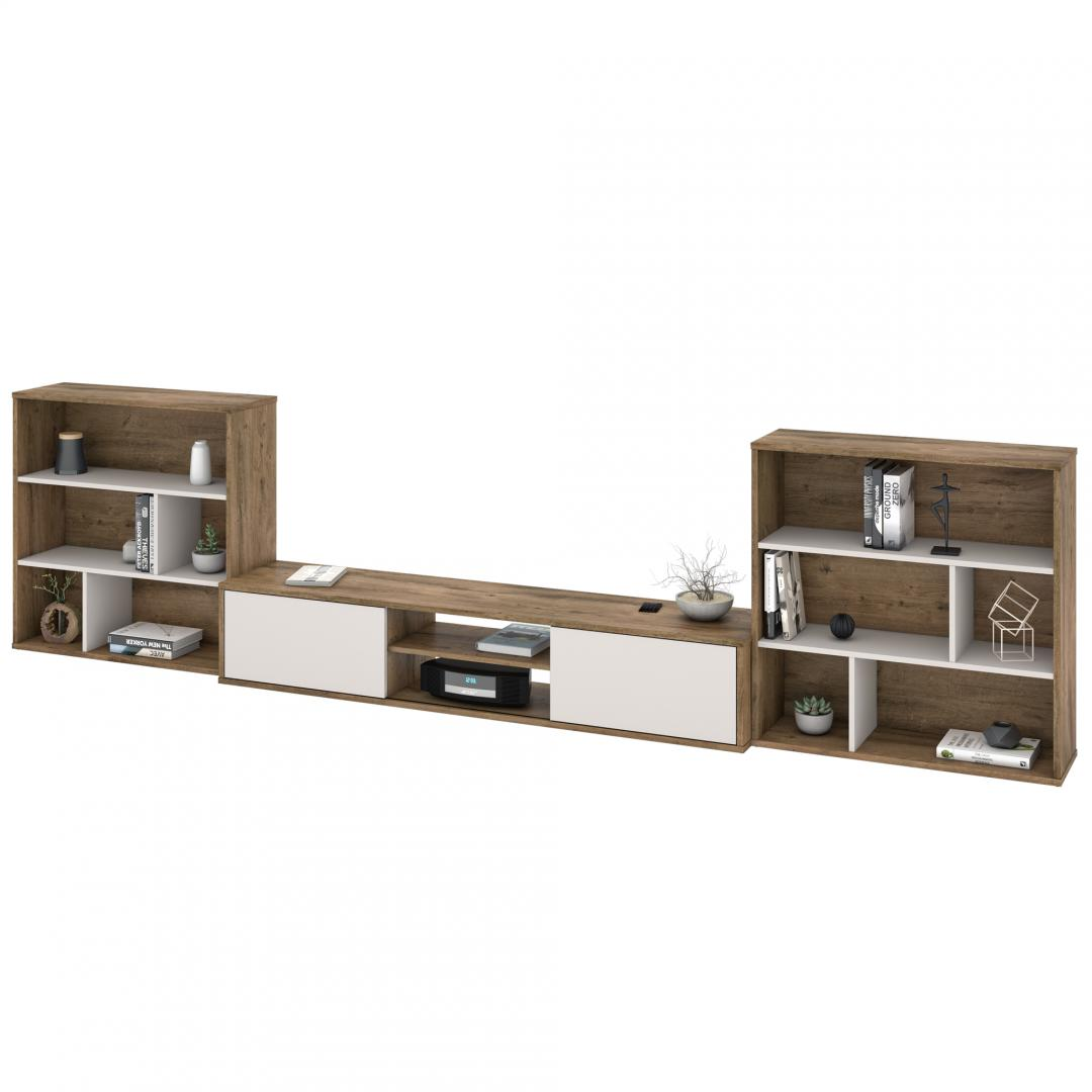 3-Piece Set including a TV Stand and Two Asymmetrical Shelving Units