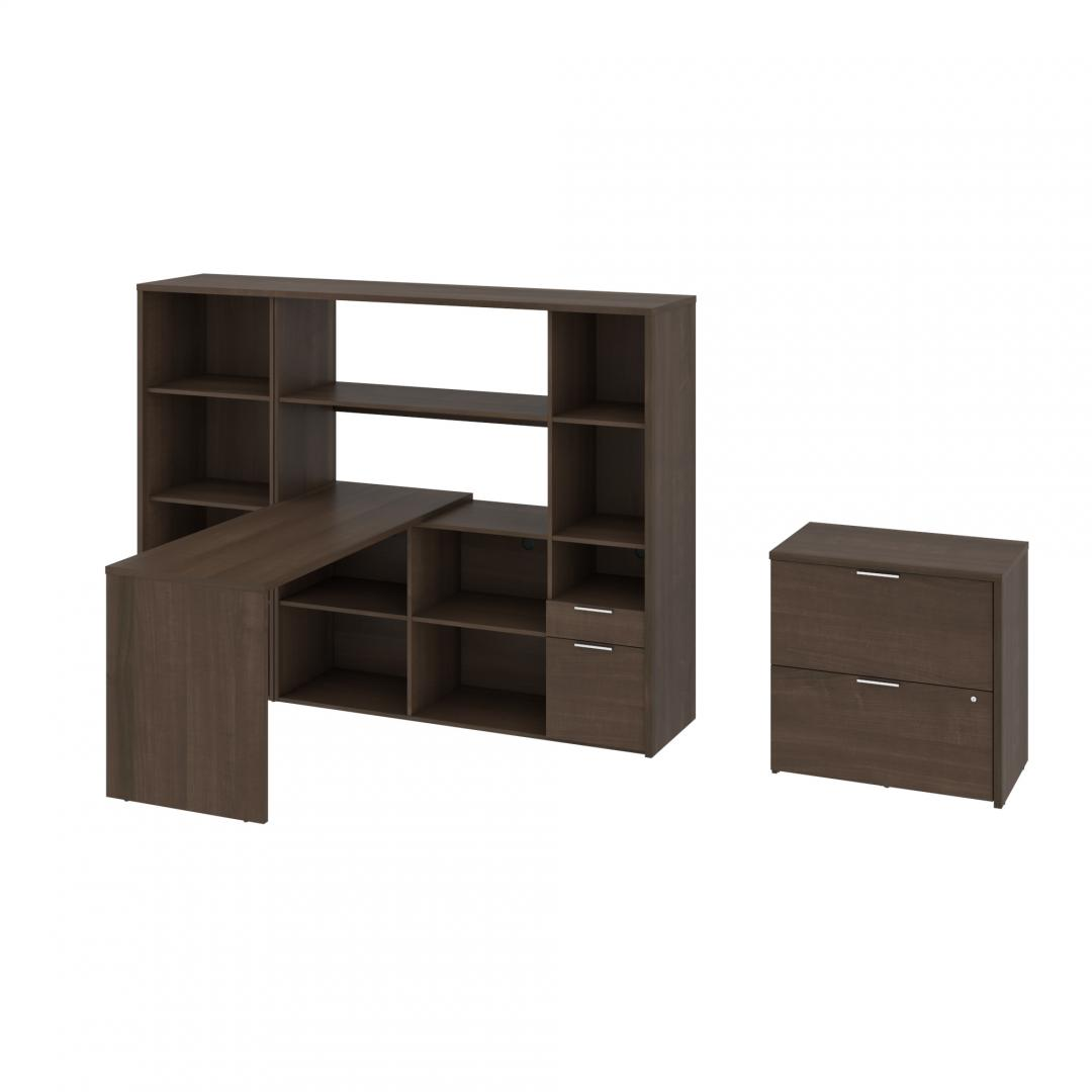 3-Piece Set including an L-Shaped Desk with a Hutch, a Bookcase, and a Lateral File Cabinet