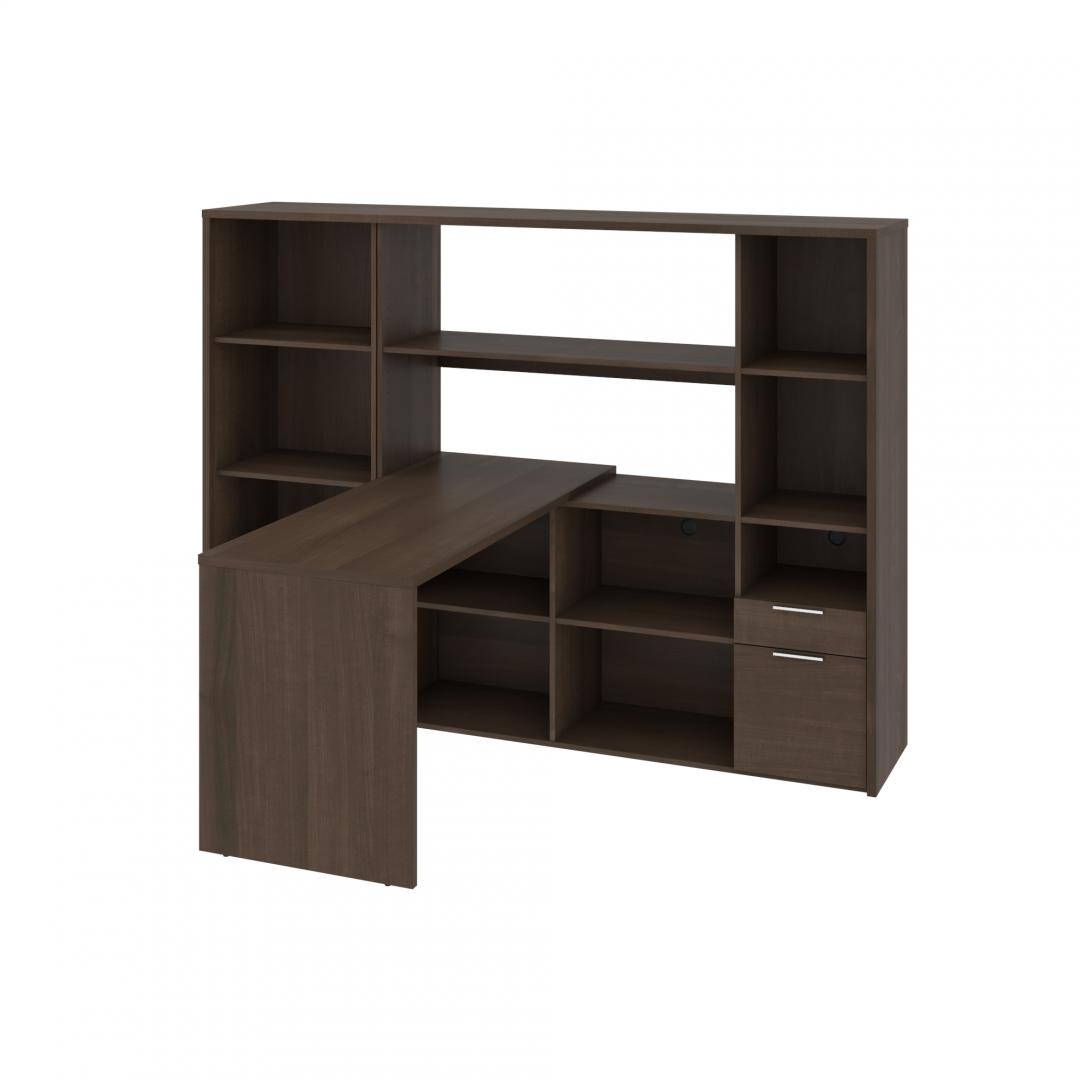 2-Piece Set Including One L-Shaped Desk with Hutch and One Bookcase