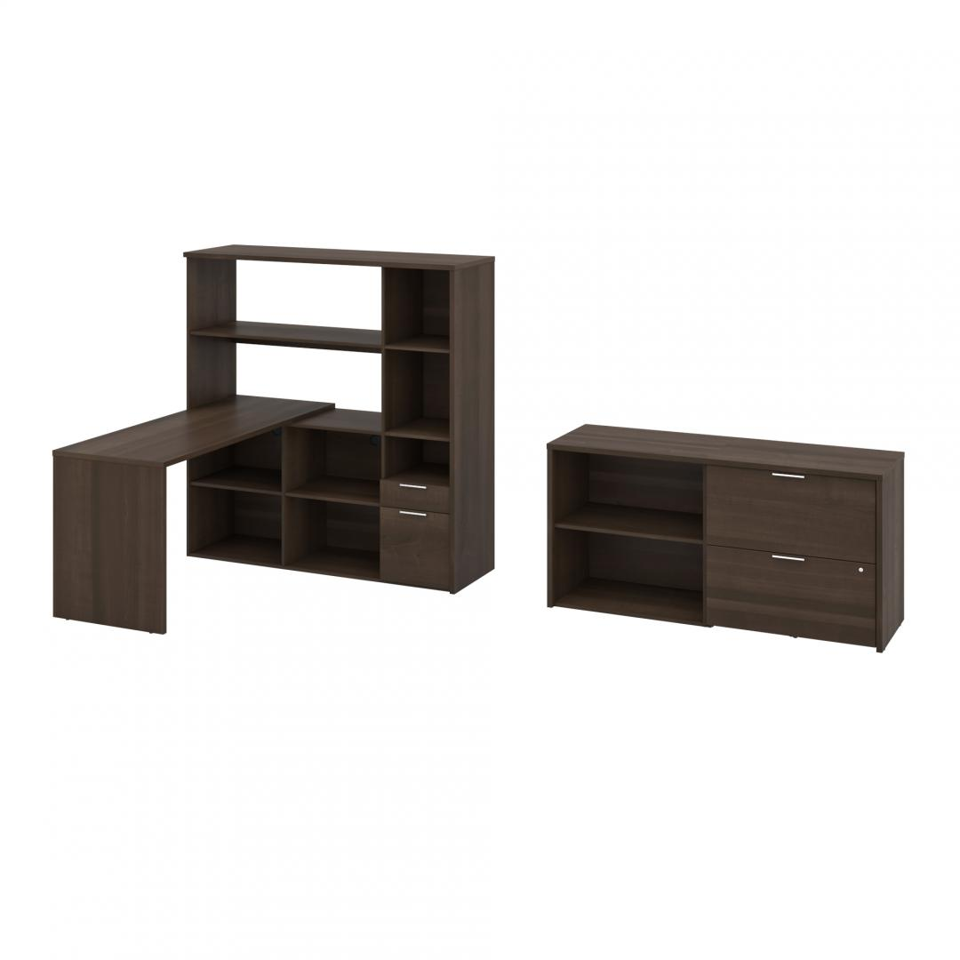 3-Piece Set Including One L-Shaped Desk with Hutch, One Storage Unit, and One Lateral File Cabinet
