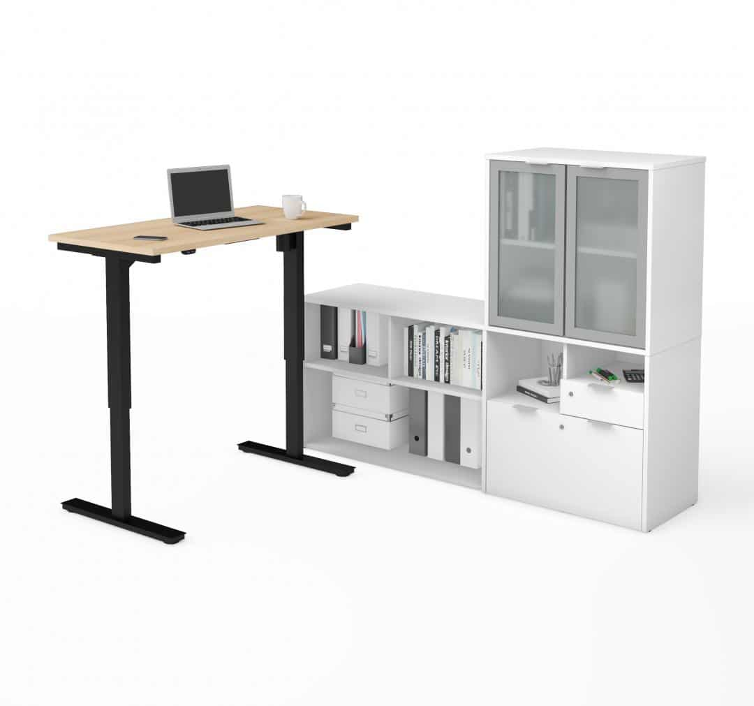 2-Piece Set including a standing desk and a credenza with hutch