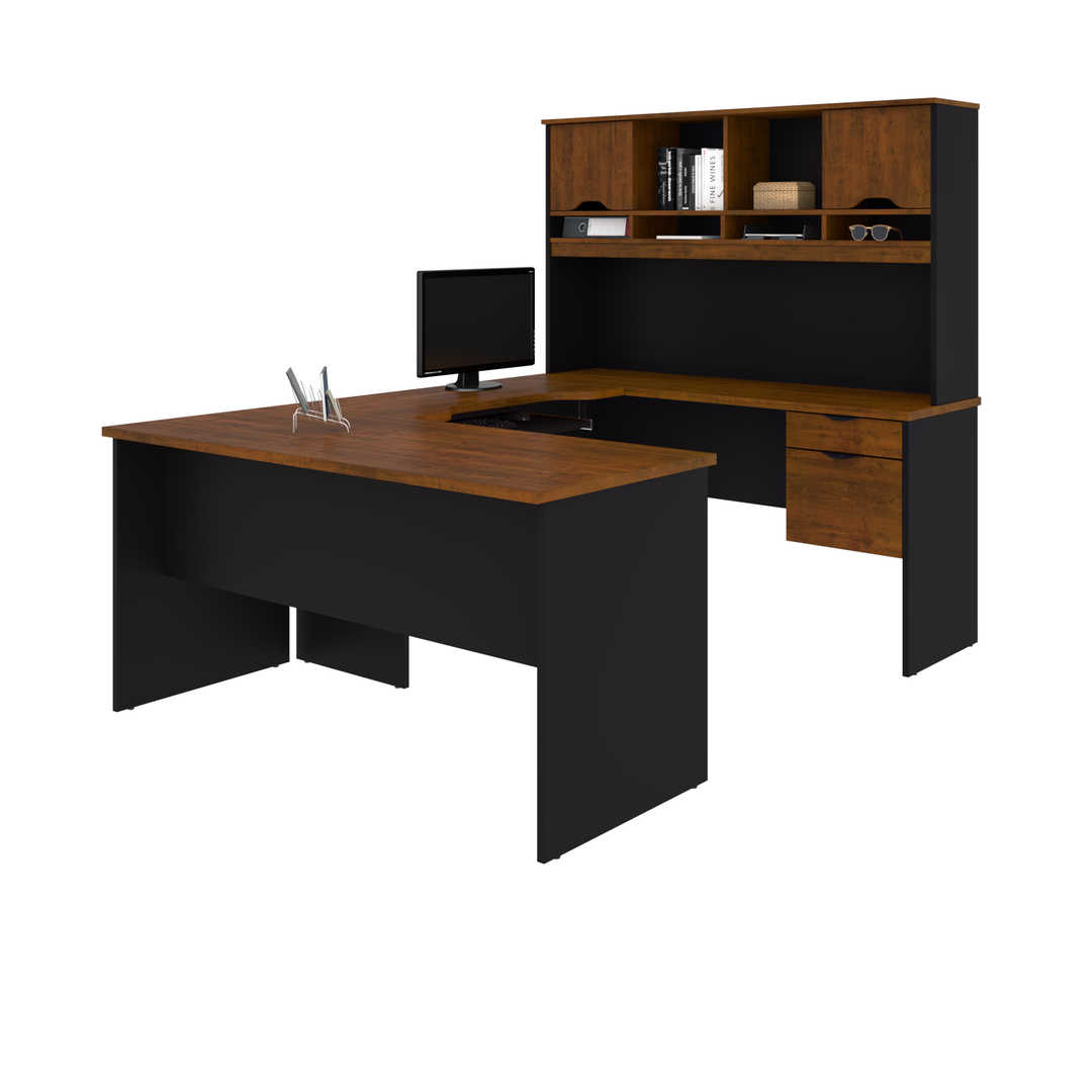 U or L-Shaped Desk with Dual Half Pedestal and Hutch