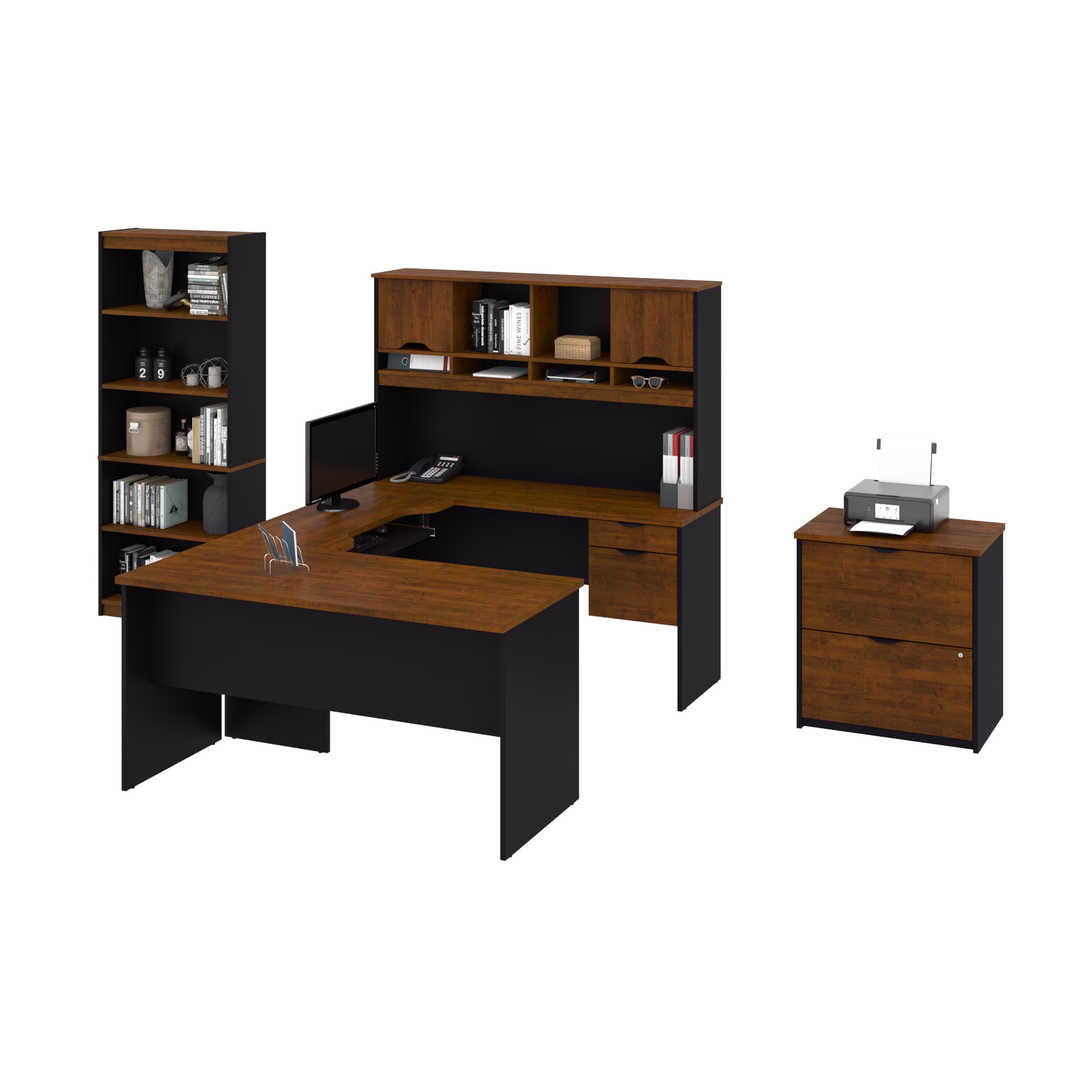 U or L-Shaped Desk with Hutch, a Lateral File Cabinet and a Bookcase