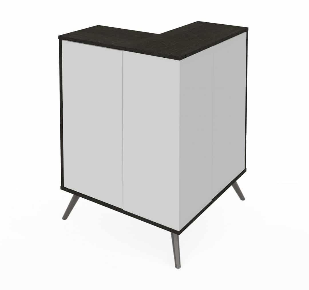 Outer Corner Storage Cabinet with Metal Legs