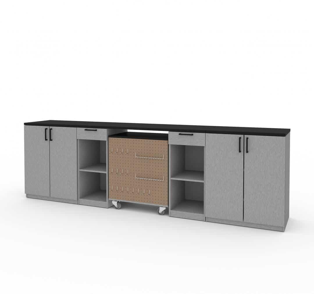 Ensemble de 4 articles incluant un établi à 2 tiroirs et des armoires basses