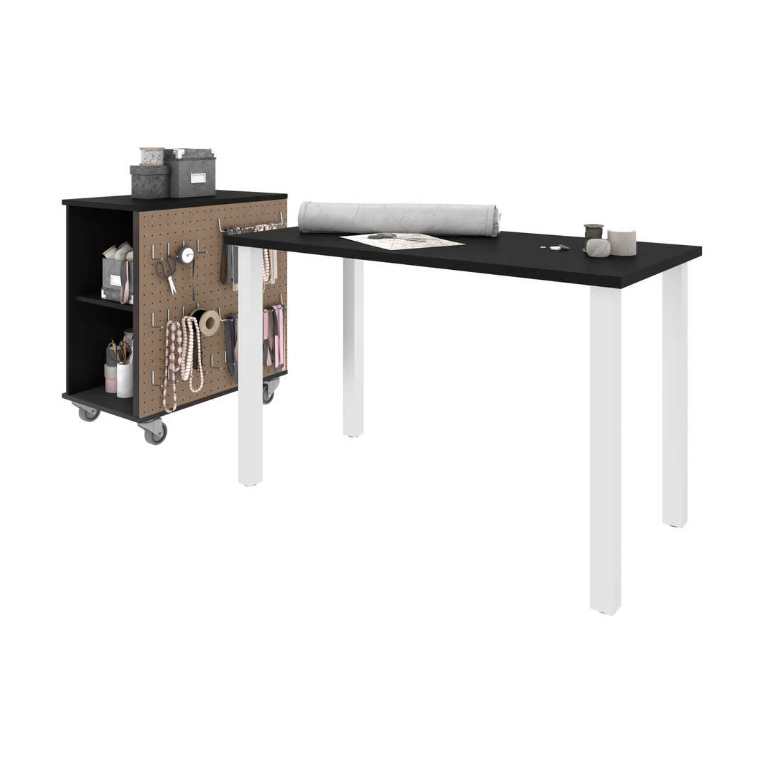 2-Piece Set Including a 24″ × 48″ Table Desk and a Mobile Storage Cabinet