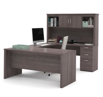 Executive U or L-Shaped Office Desk with Pedestal and Hutch