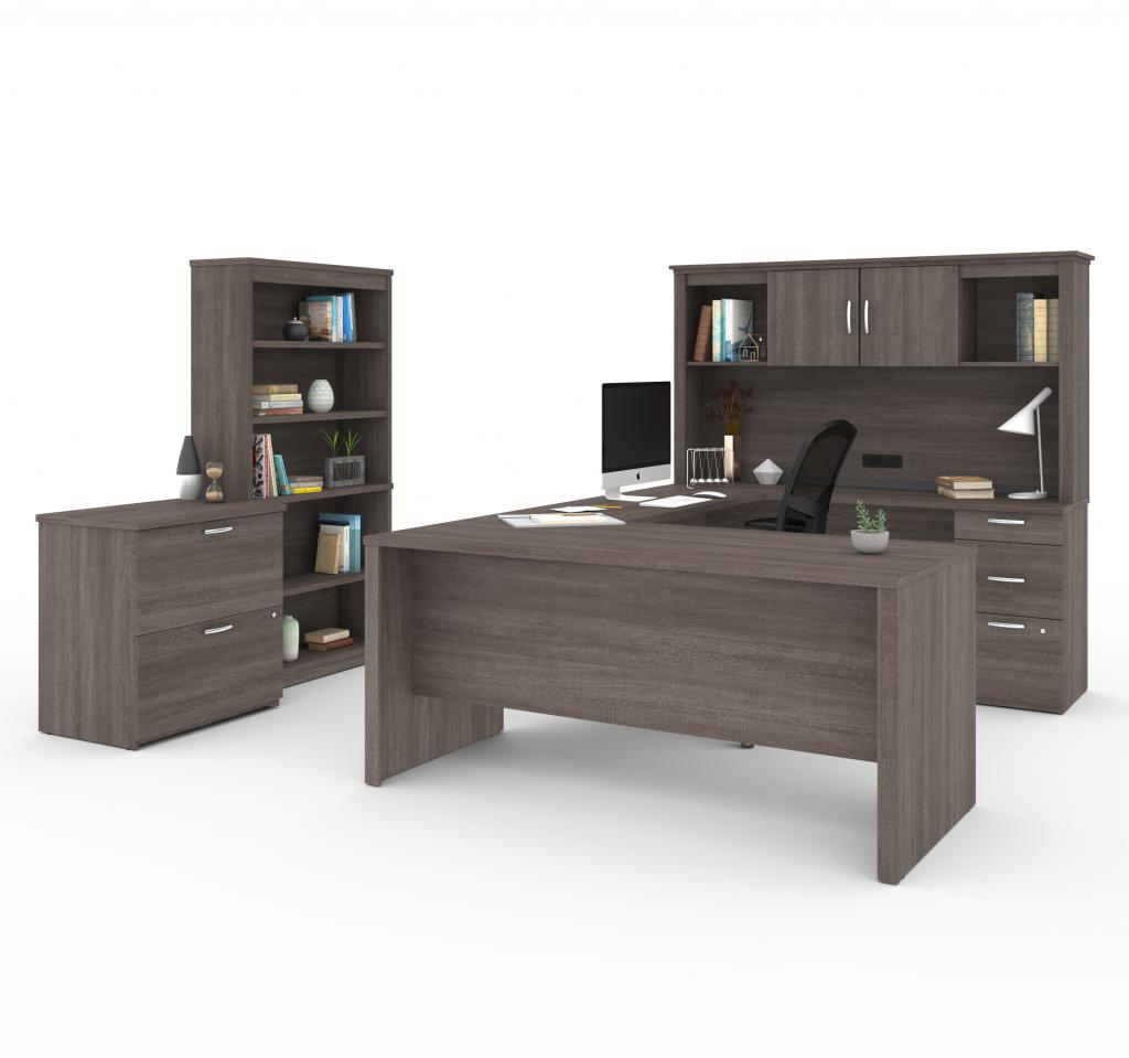 U or L-Shaped Executive Desk with Hutch, a Lateral File Cabinet, and a Bookcase