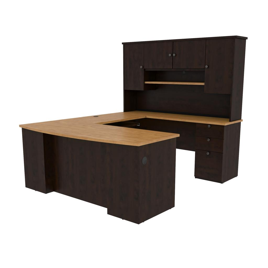 71W U or L-Shaped Executive Desk with Pedestal and Hutch