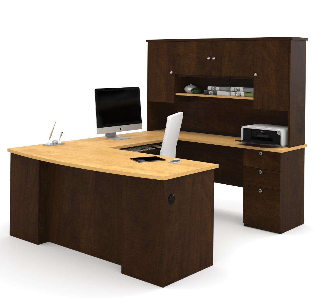 U or L-Shaped Desk, a Lateral File Cabinet, and a Bookcase