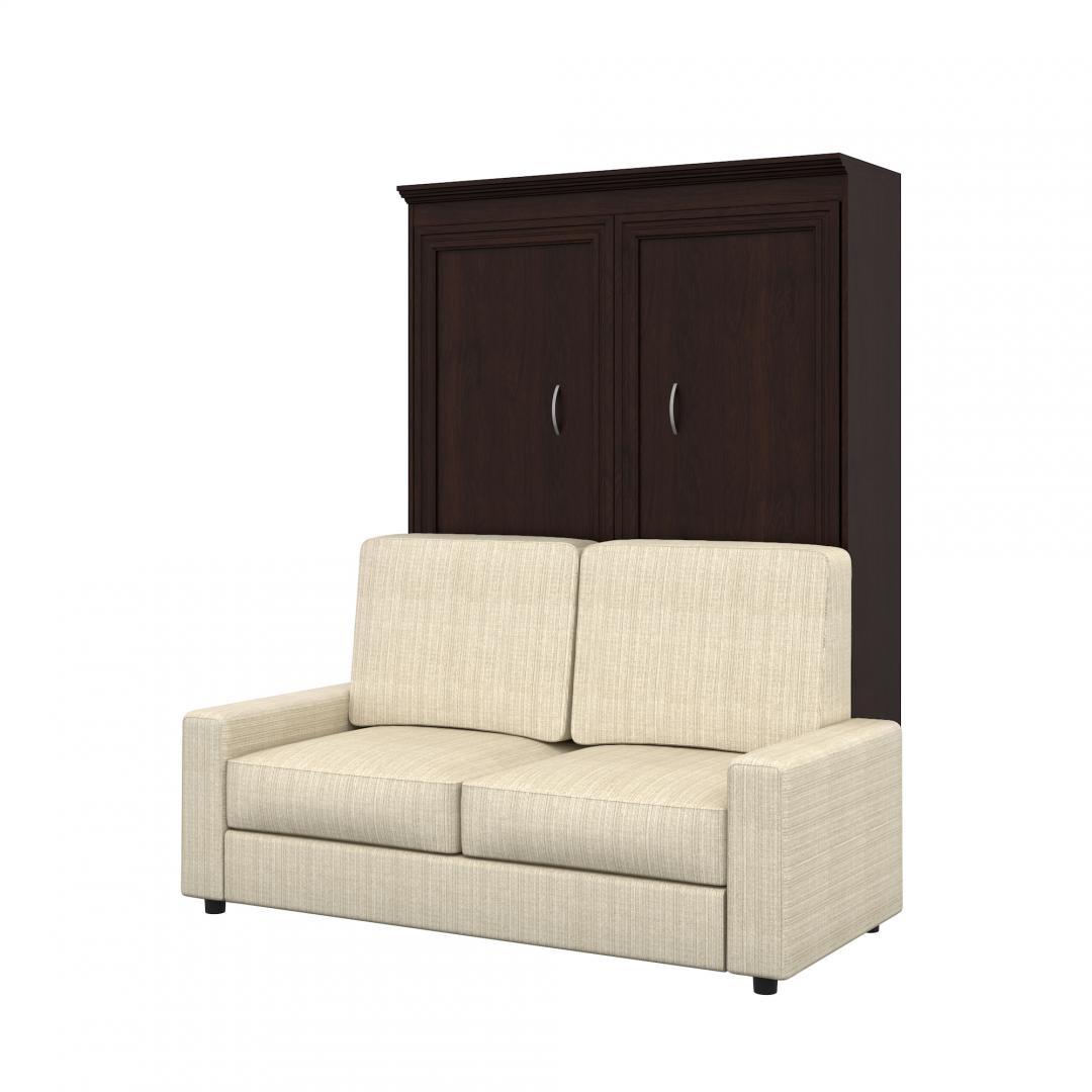 Lit double escamotable (deux places) plaqué en chêne et un sofa