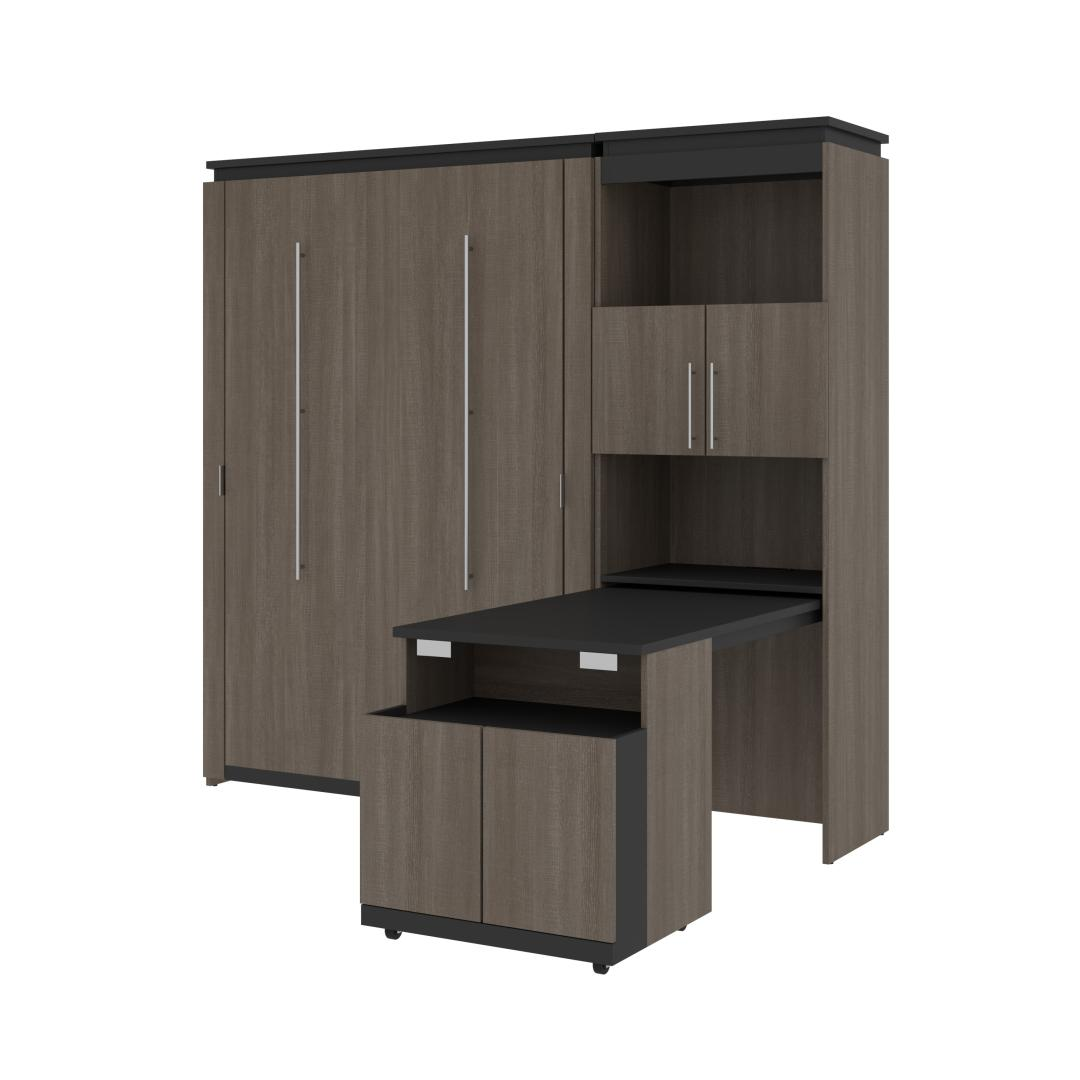 Full Murphy Bed and Shelving Unit with Fold-Out Desk (89W)