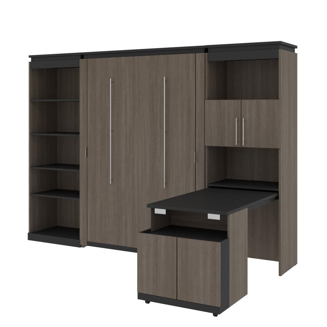 Full Murphy Bed with Shelving and Fold-Out Desk (119W)