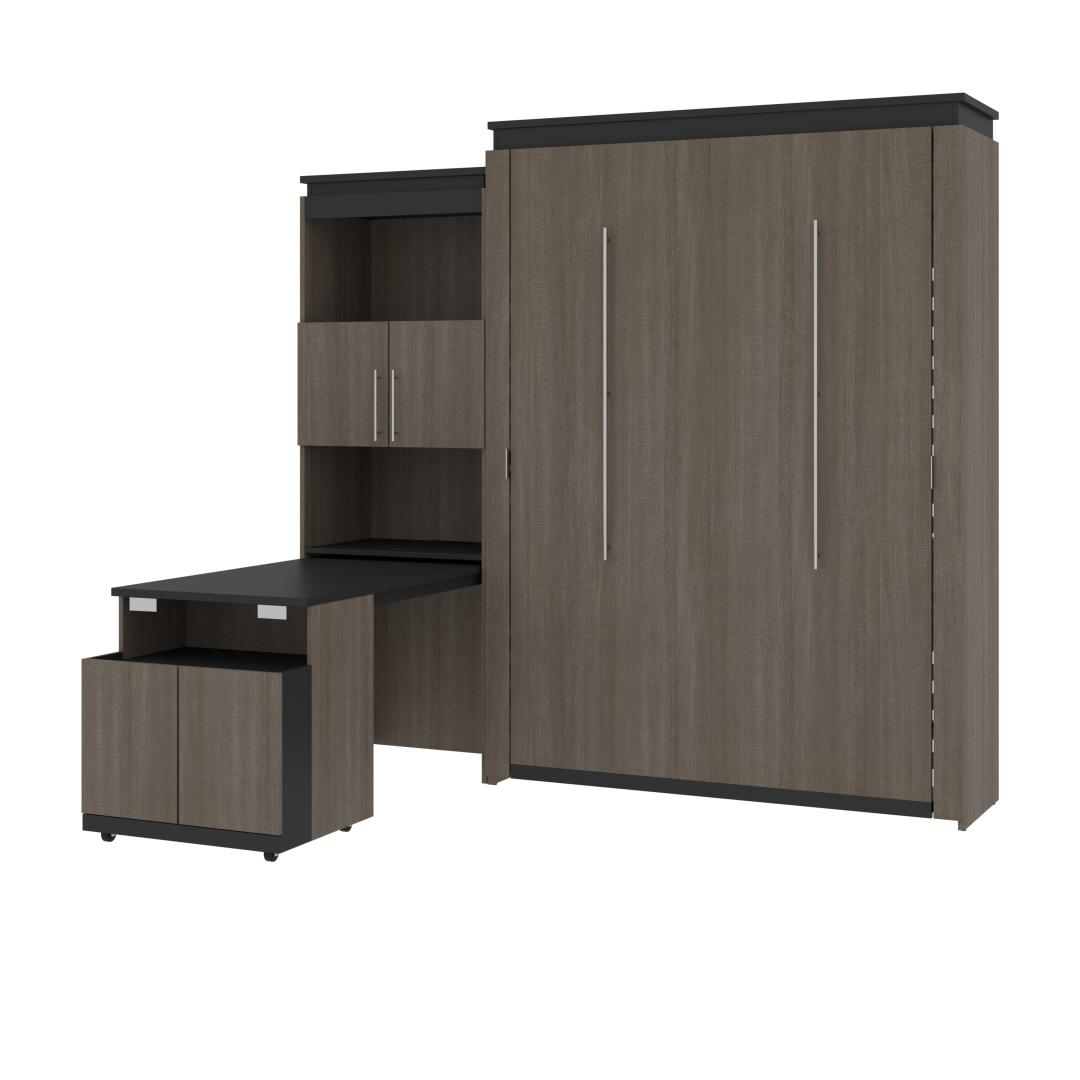 Queen Murphy Bed and Shelving Unit with Fold-Out Desk (95W)