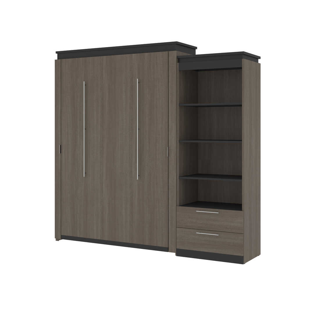 Queen Murphy Bed and Shelving Unit with Drawers (95W)