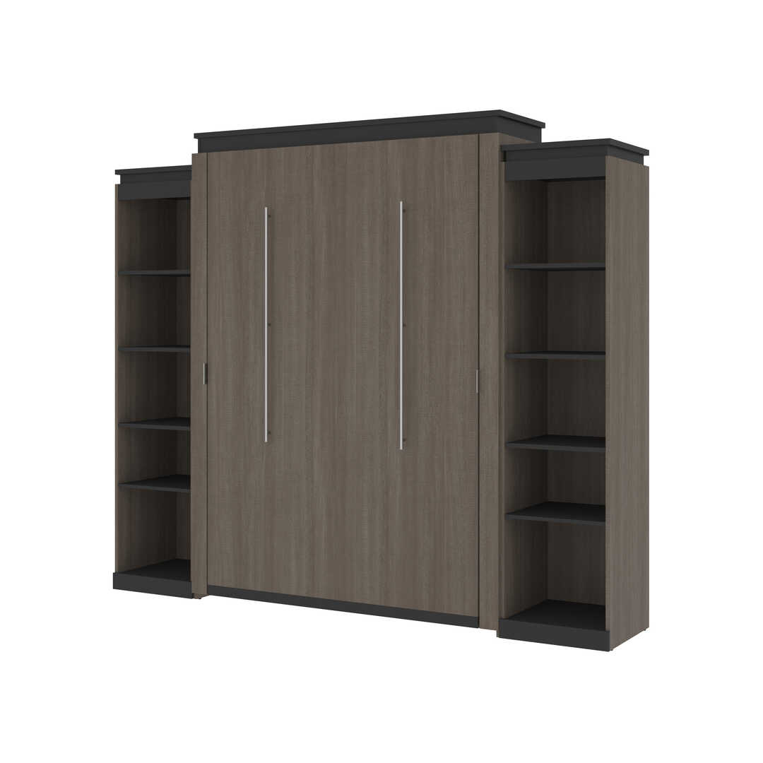 Queen Murphy Bed with 2 Narrow Shelving Units (105W)