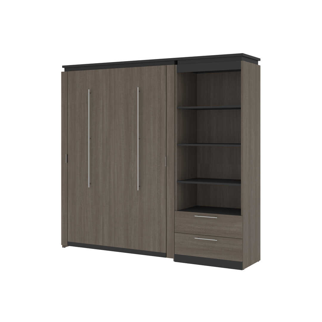 Full Murphy Bed and Shelving Unit with Drawers (89W)