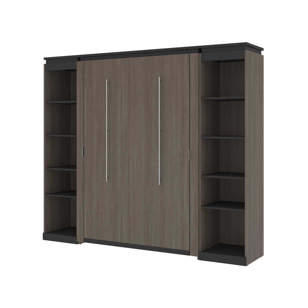 Full Murphy Bed with 2 Narrow Shelving Units (99W)