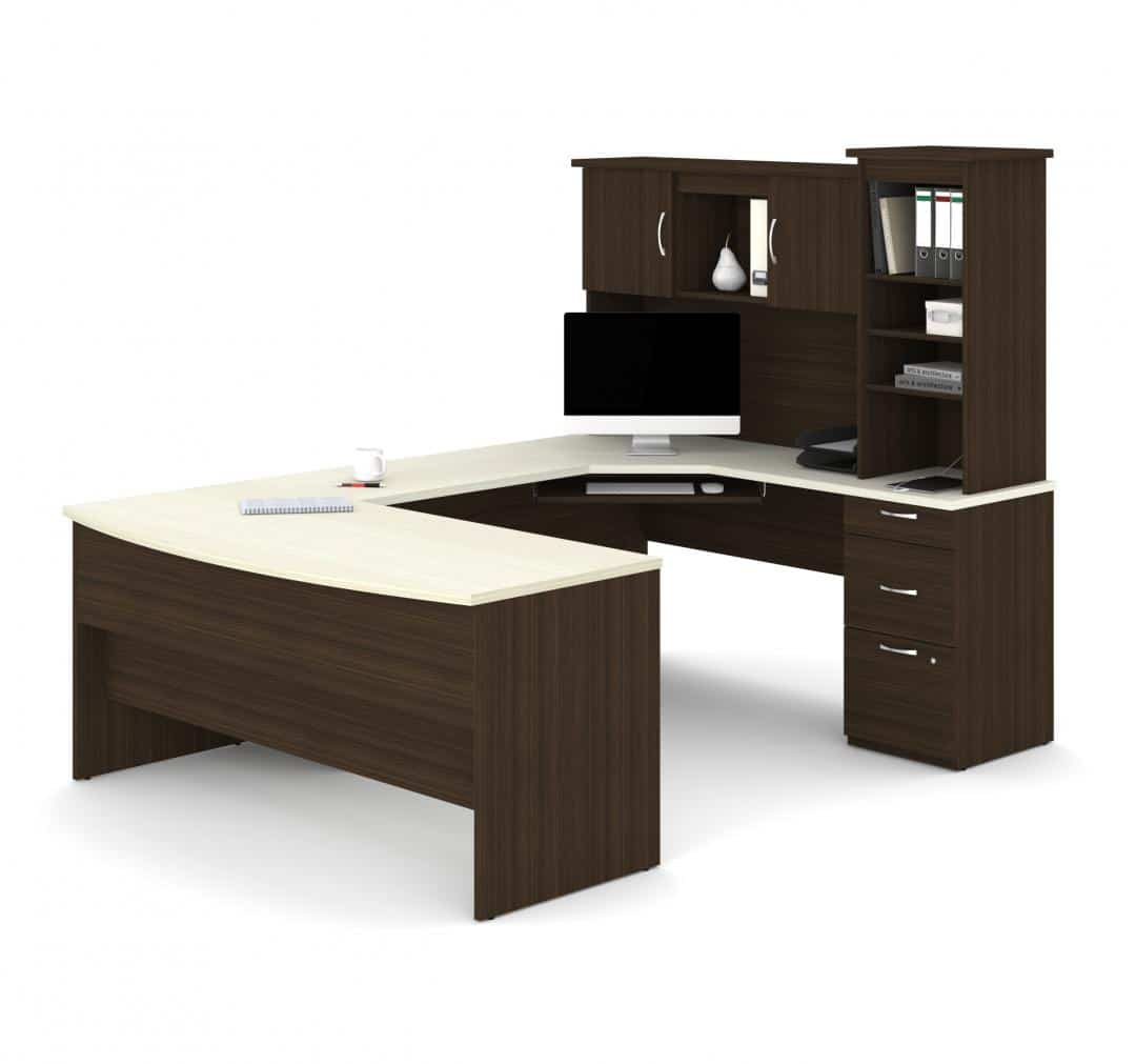 U or L-Shaped Executive Desk with Pedestal and Hutch