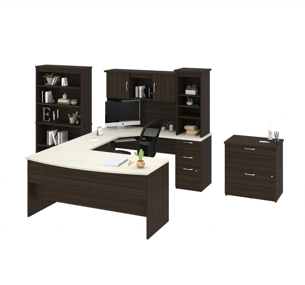 U or L-Shaped Desk, 1 Lateral File Cabinet, and 1 Bookcase