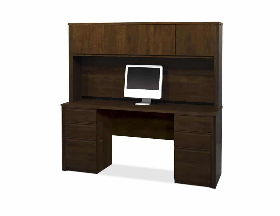 Credenza Desk with Two Pedestals and Hutch
