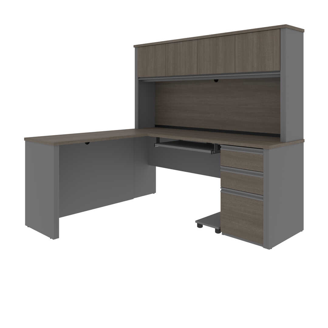 72W L-Shaped Desk with Pedestal and Hutch