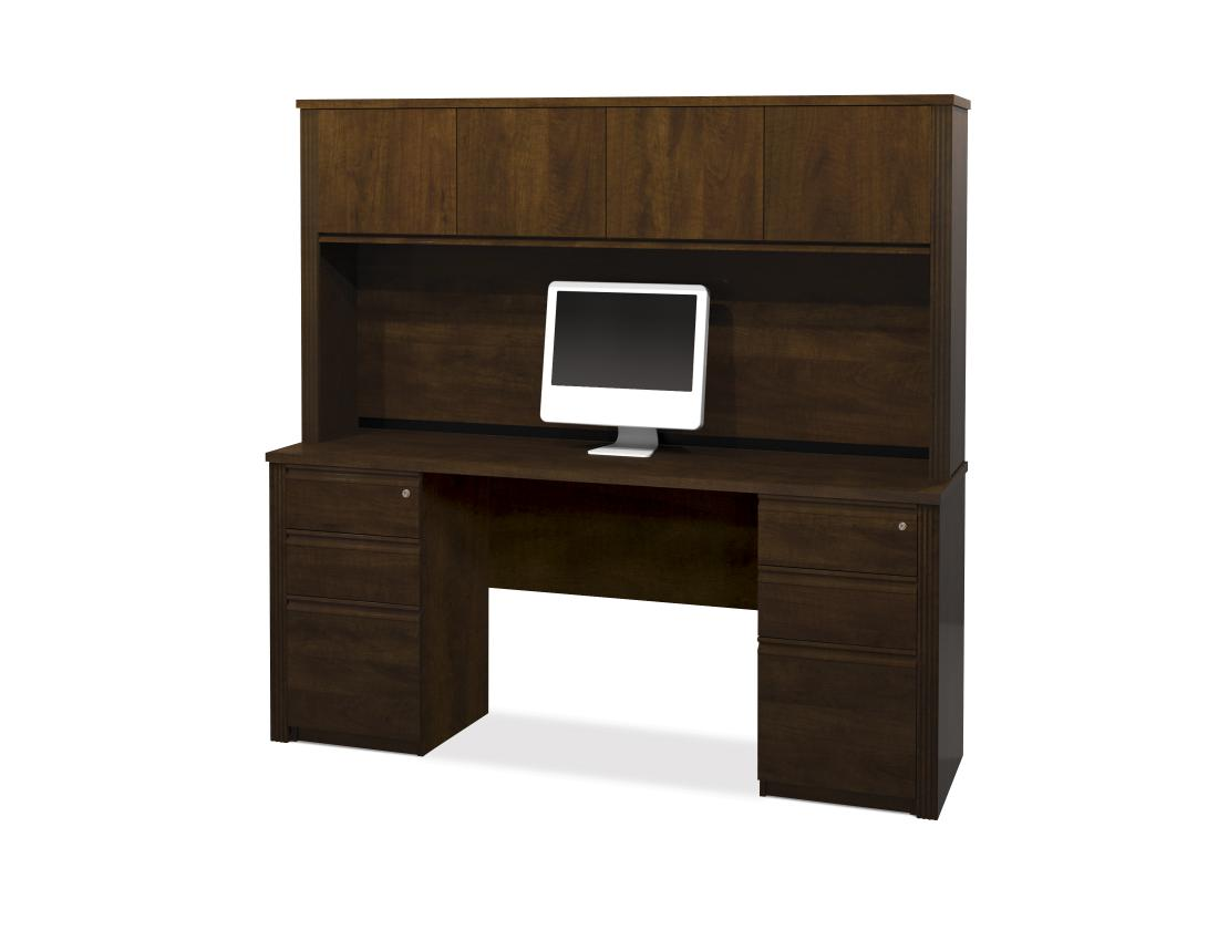 Credenza Desk with Hutch and Two Assembled Pedestals
