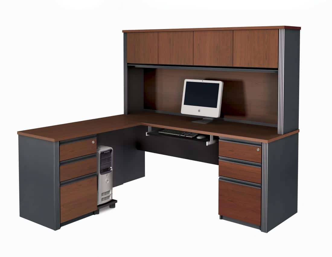 L-Shaped Desk with Hutch and Two Assembled Pedestals
