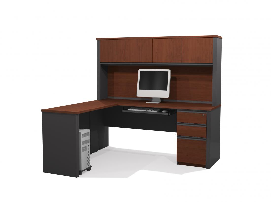L-Shaped Desk with Hutch and Assembled Pedestal
