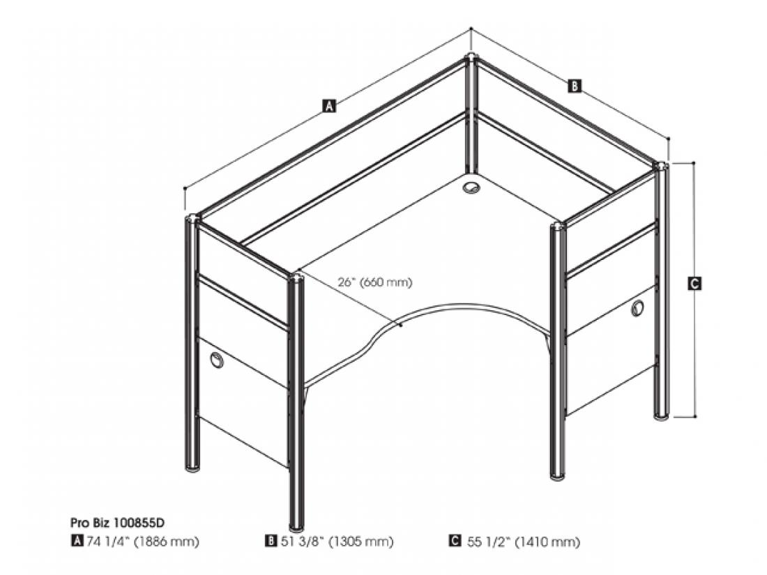 Closed Right L-Shaped Single Office Cubicle with High Privacy Panels
