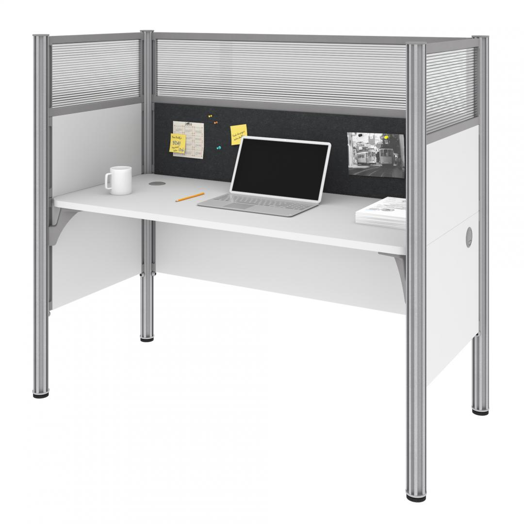 Single Office Cubicle with Gray Tack Board and High Privacy Panels