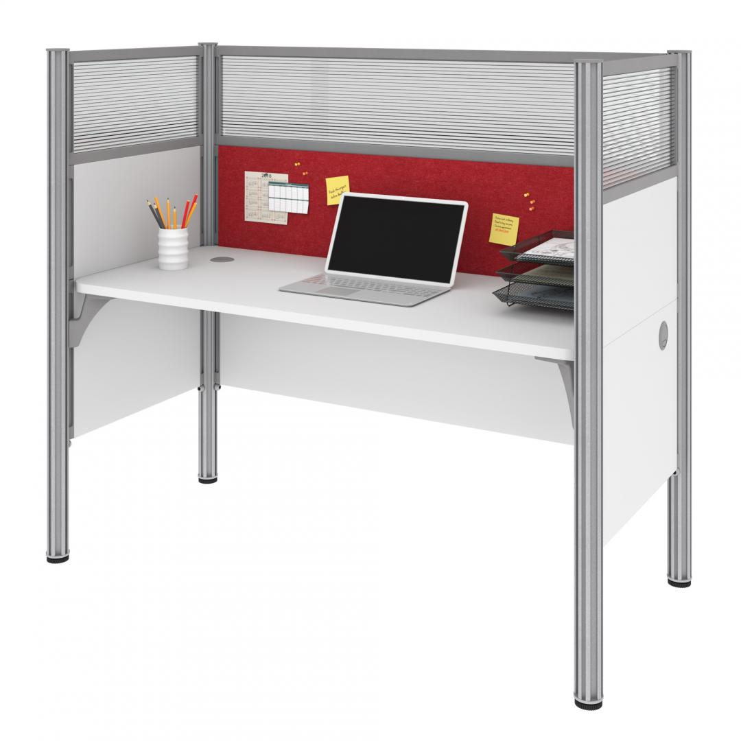 Single Office Cubicle with Red Tack Board and High Privacy Panels