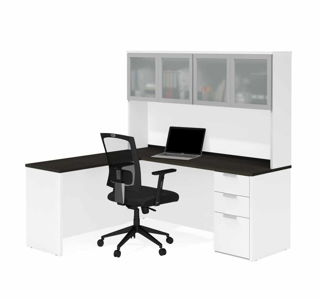 L-Shaped Desk with Pedestal and Frosted Glass Door Hutch