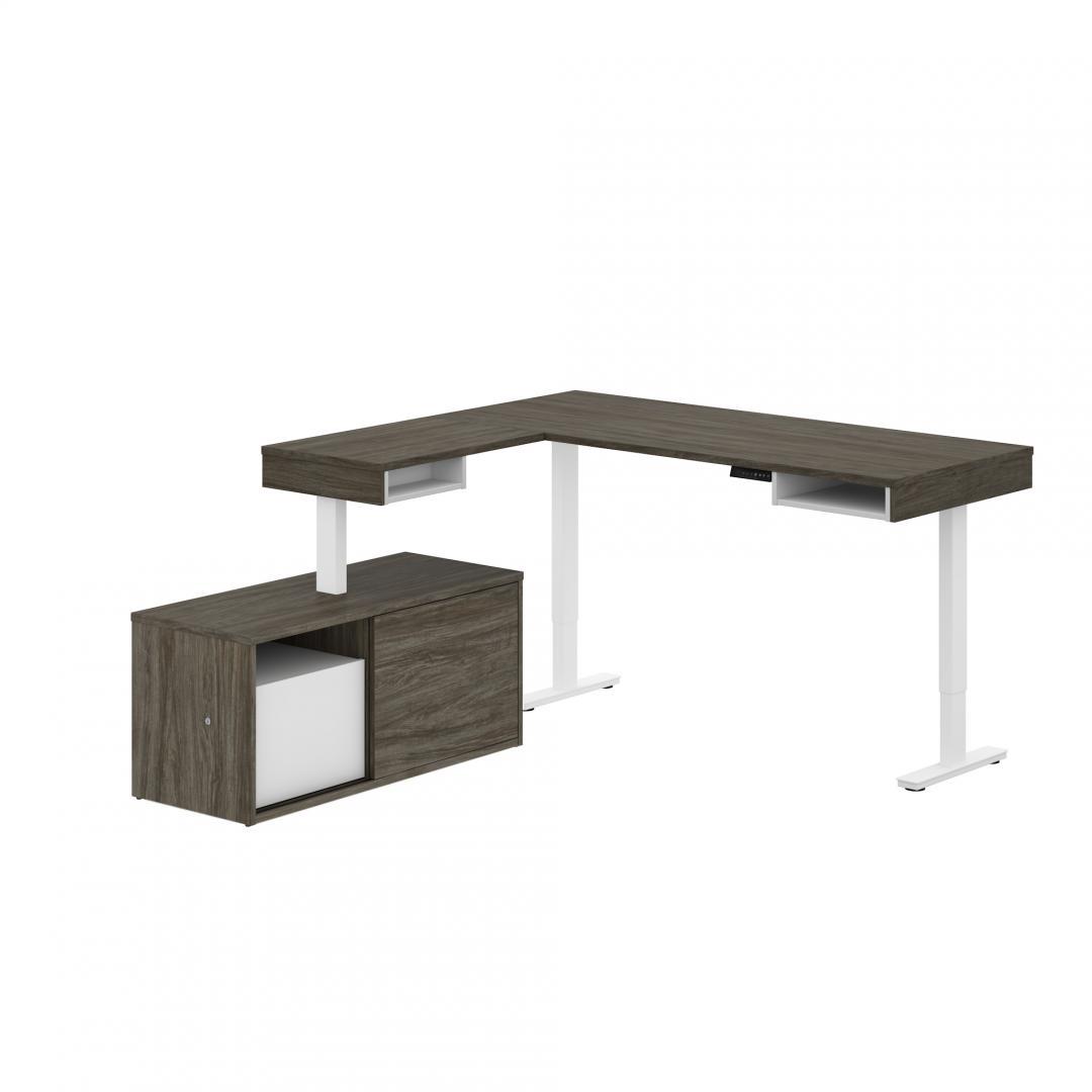 Pro Vega L Shaped Standing Desk With Credenza Bestar