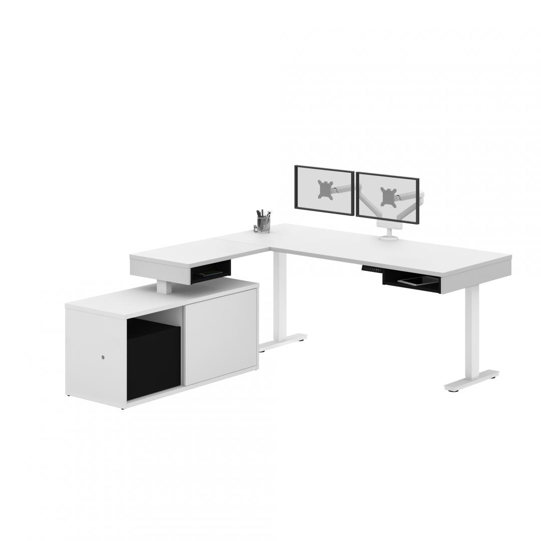 L-Shaped Standing Desk with Credenza and Dual Monitor Arm