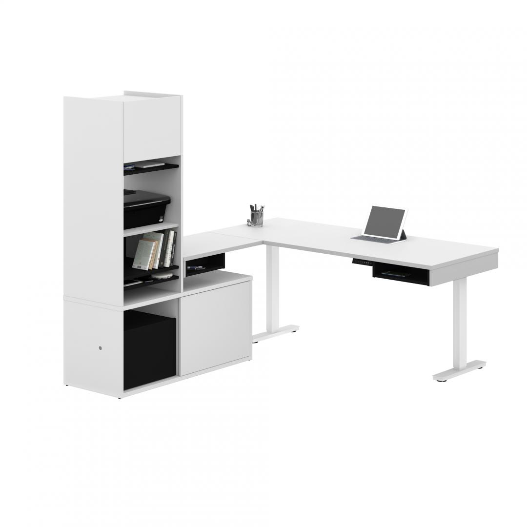 L-Shaped Standing Desk with Credenza and Hutch