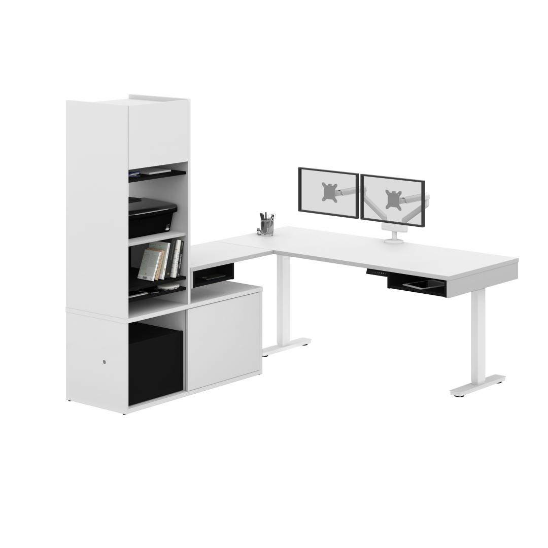 L-Shaped Standing Desk with Credenza, Hutch, and Dual Monitor Arm